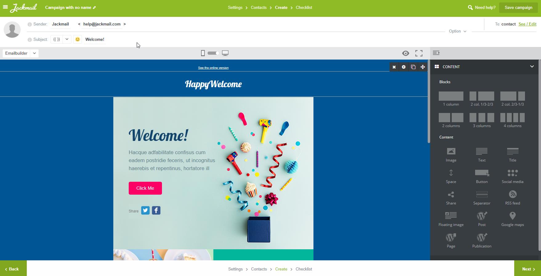 Worfklow - new subscriber : template