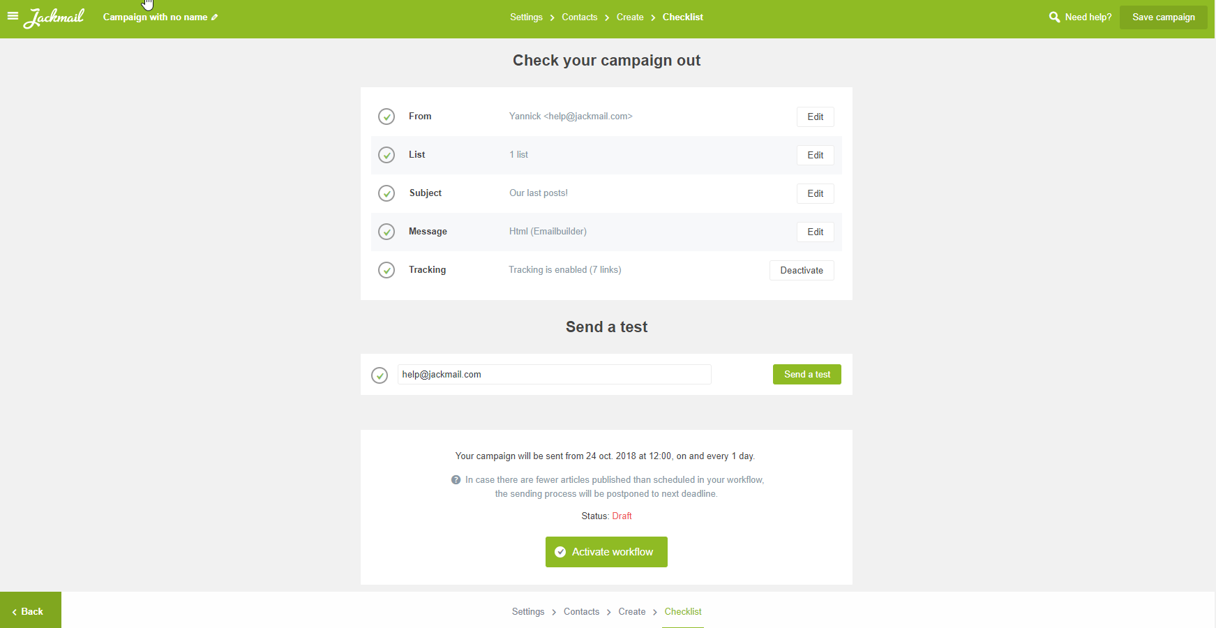automated newsletter - checklist