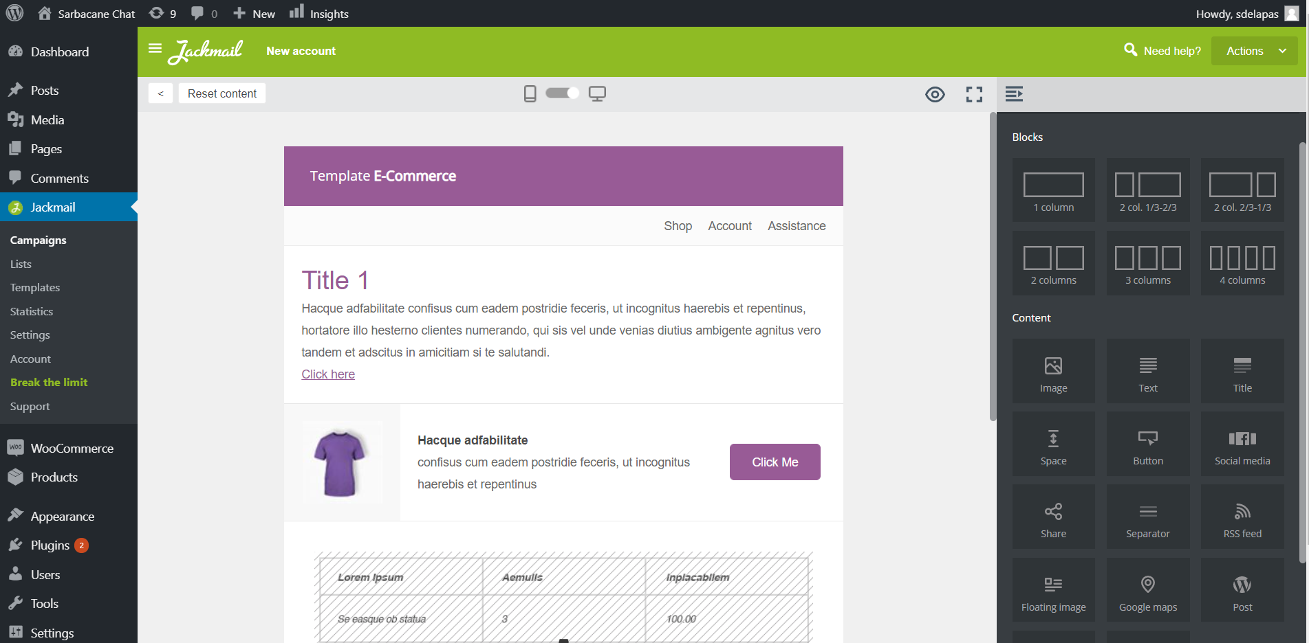 Modification and customization of WooCommerce emails with Jackmail